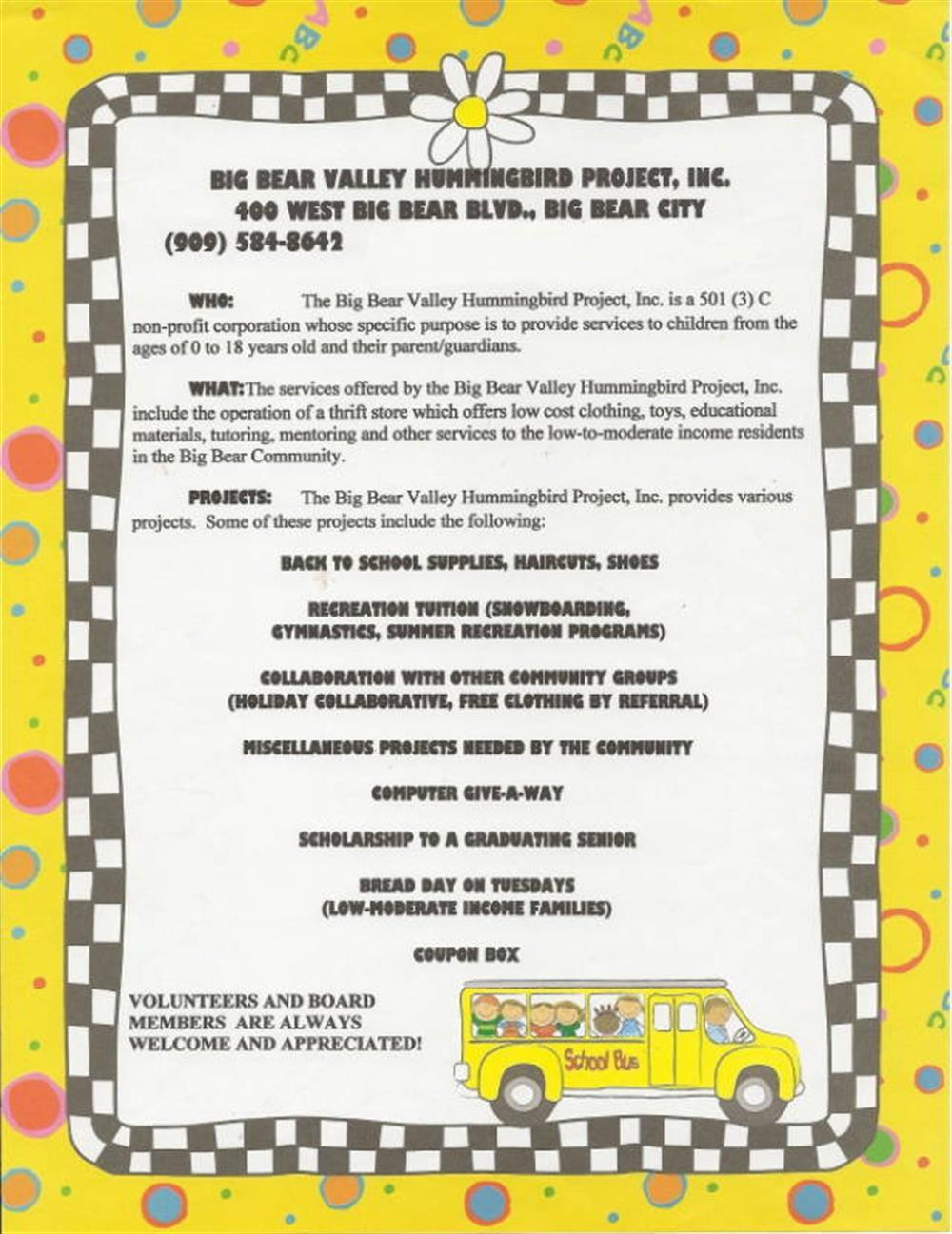 Big Bear Valley Hummingbird Project Inc Big Bear