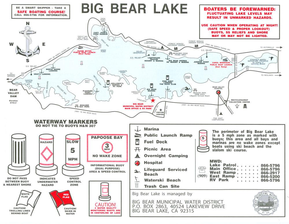 Maps Boating Map of Big Bear Lake